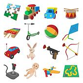 Toys cartoon icons set
