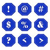 Punctuation Marks on Blue Signs
