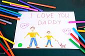 child's drawing Daddy, I love you closeup
