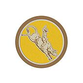 Metallic Rodeo Cowboy Bull Riding Retro Circle