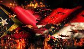 East Timor Indonesia Flag War Torn Fire International Conflict 3D