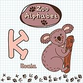 Colorful children's alphabet with animals, koala