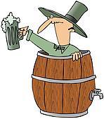 Leprechaun In A Beer Barrel