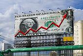 billboard with dollar bill and curve