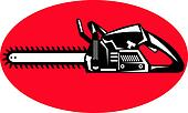 icon of a chainsaw sideview set inside an oval or ellipse