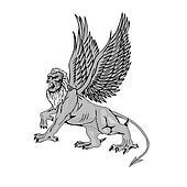 The big mythological griffin.Vector