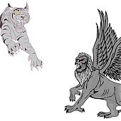 Jumping tiger and griffin.Vector