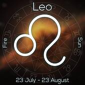Zodiac sign - Leo. White line astrological symbol with caption