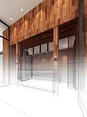 sketch design of lobby ,3dwire fram