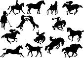horse silhouettes. Vector illustration