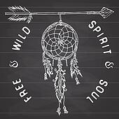 Dream catcher and arrow, tribal legend in Indian style with traditional dreamcatcher with bird feathers and beads. illustration, letters Free and Wild spirit and soul. on chalkboard.