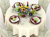 3d illustration of table setting. The reception dinner