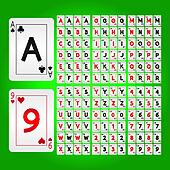 Playing Cards Alphabet and Digit Vector