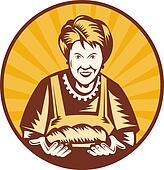 old woman presenting a freshly baked loaf of bread set inside a circle.
