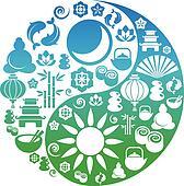 Yin Yang symbol made from Zen icons