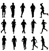 running and walking silhouettes set