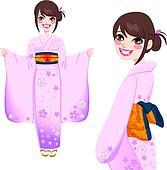 Japanese Woman in Pink Kimono