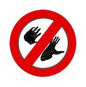 Interdiction paw  symbol sign.  Gorilla pawprint