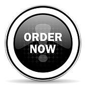 order now icon, black chrome button