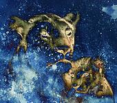 lion mother and lion cub, painting on paper. with spots abstract background, rust structure and old vintage style