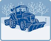 Snow plow tractor plowing winter scene