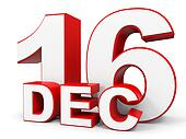 December 16. 3d text on white background.
