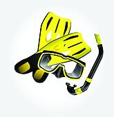 Fins, scuba mask and snorkel