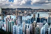 Victoria Harbor in Hong Kong Taken Atop Victoria Peak, HDR