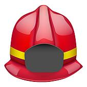 Red fireman glossy helmet. Isolated on white background. Bitmap copy.