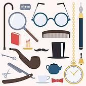 Gentlemens vintage stuff design set