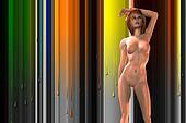 Nude Female Model on Abstract