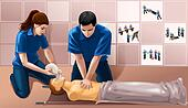 Men and woman doing cpr