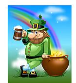 Leprechaun with beer and gold