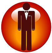 man wearing tuxedo icon or web button