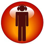 man wearing headphones button or icon - illustration