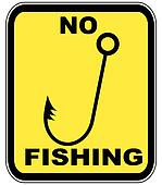 yellow and black sign - no fishing allowed