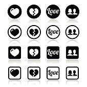 Love, heart, couple icons