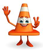 Construction Cone Character with victory sign
