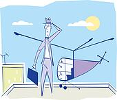 Businessman arriving at a working meeting by helicopter. Vector illustration.