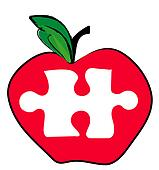 red apple with a piece of the puzzle missing - illustration