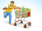 running man with shopping cart full of products