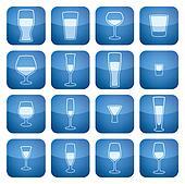 Cobalt Square 2D Icons Set: Alcohol glass