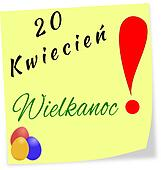 Stick note as reminder with date of Easter in Polish