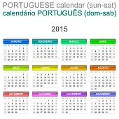 2015 Calendar Portuguese Language Version Sun ? Sat