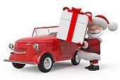 3d Santa Claus by car