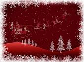 Santa Claus on a sleigh drawn by reindeer, snow, pine tree word cloud background