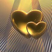 golden love hearts