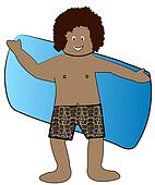 ethnic boy in bathing suit drying off with towel