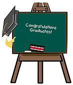 easel chalkboard with graduation cap - congratulations graduates