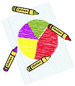 colored circle graph on lined paper with crayons